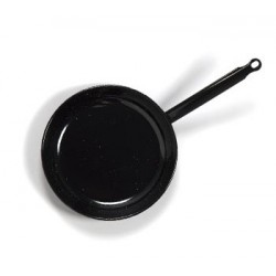 Flat Enamelled frying pan with handle