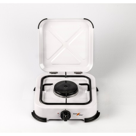1 burner gas stove with cover.