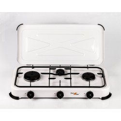 3-burner gas stove with cover.