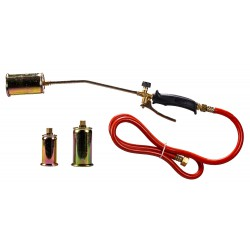 Kit including welding torch with handgrip, 1,5 m joined hose, and 3 nozzles of 35 , 45 and 60 mm.